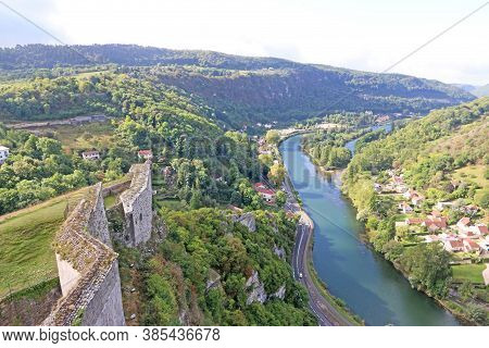 Besancon Town And River Doubs From The Citadel, France