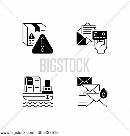 Delivery Service Black Linear Icons Set. Sea Shipping, Priority Mail, Dangerous Cargo And Postage Pa