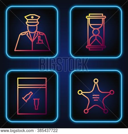 Set Line Hexagram Sheriff, Evidence Bag And Bullet, Police Officer And Old Hourglass With Sand. Grad
