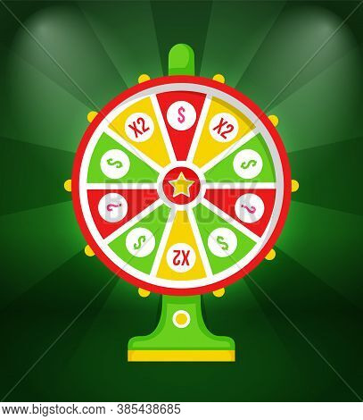 Wheel Of Fortune With Winning Sign And Multi-colored Sectors, Flat Illustration On Green Background.
