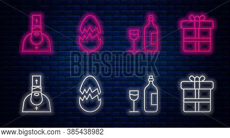 Set Line Broken Egg, Wine Bottle With Glass, Priest And Gift Box. Glowing Neon Icon On Brick Wall. V
