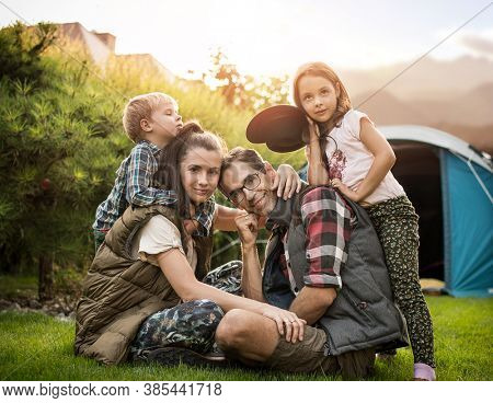Happy family on a vacation camp trip