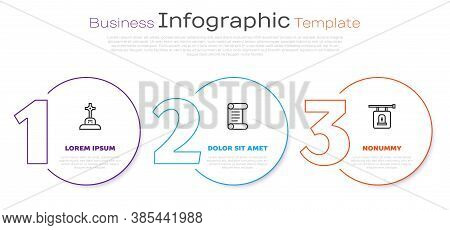 Set Line Grave With Cross, Decree, Parchment, Scroll And Signboard Tombstone. Business Infographic T