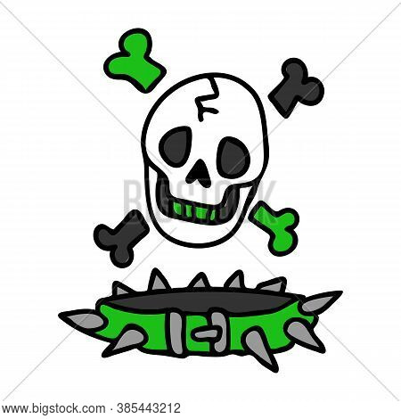 Punk Rock Skull And Collar Vector Illustration Clipart. Simple Alternative Sticker. Kids Emo Rocker