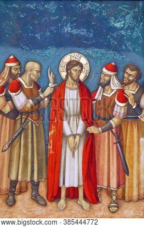 ZAGREB, CROATIA - FEBRUARY 19, 2013: 10th Stations of the Cross, Jesus is stripped of His garments, parish church Precious Blood of Jesus in Zagreb, Croatia