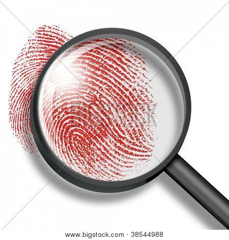 blood fingerprint through magnifying glass