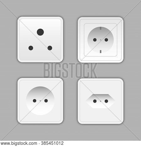 Set Of Sockets And Switches. Power Electrical Socket Different Modern Round Switches.  Power Electri