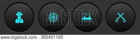 Set Pirate Captain, Ship Steering Wheel, Boat With Oars And Crossed Pirate Swords Icon. Vector