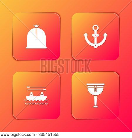 Set Pirate Sack, Anchor, Boat With Oars And Wooden Pirate Leg Icon. Vector