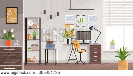 Workplace Modern Design In Living Room. Office, Studio, Cabinet Or Home Workspace Interior With Gray