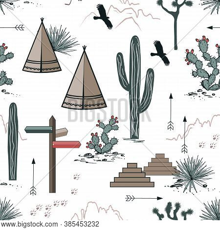 Adventure Seamless Pattern With Wild Desert Nature, Rocks, Saguaro, Wigwams, And Arrows. Vector Back