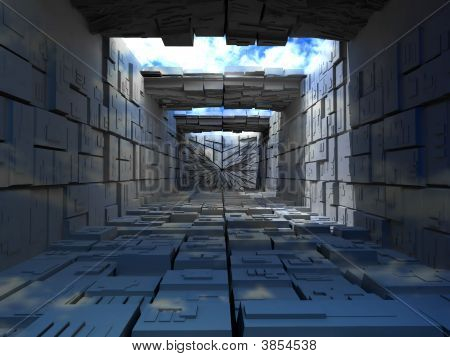 Abstrac building from boxes. 3d Very beautiful three-dimensional illustration figure. poster