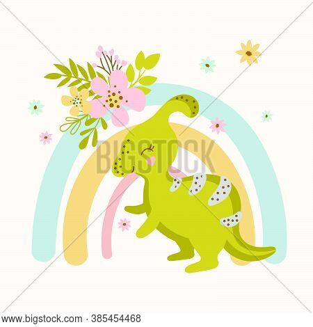Dino Flower Hand Drawn Flat Design Grunge Style Cartoon Prehistoric Animal Rainbow Vector Illustrati