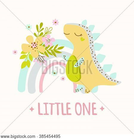 Dino Rainbow Hand Drawn Flat Design Grunge Style Cartoon Prehistoric Animal Vector Illustration For