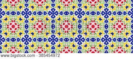 Aztec Rugs. Dots, Red, Green, Blue Seamless Texture. Seamless Tie Dye Illustration. Ikat Turkish Mot