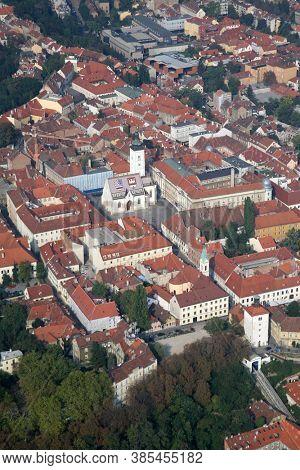 Zagreb Panorama with Church of St Mark in Zagreb, Croatia