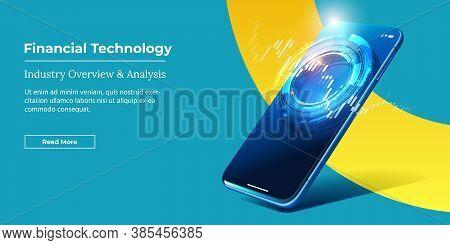 Financial Technology - Fintech Concept. Vector Realistic Smartphone With Stock Market App. Futuristi