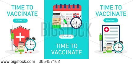 Vaccine Time. Poster With Syringe For Injection, Calendar Vaccination And Insurance. Banner With Vac