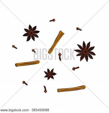 Cinnamon And Anise Sticks Hand Drawing Illustration Close Up Isolated On White Background. Aromatic