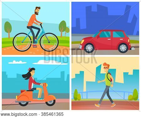 Means Of Transport Vector, Man Riding Bicycle In Park In Weekend, Female Character On Scooter At Str