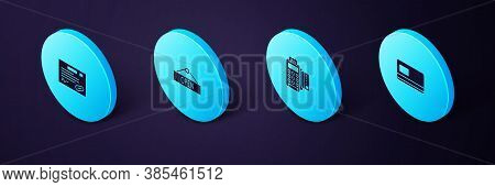 Set Isometric Credit Card, Pos Terminal With Credit, Hanging Sign Open And Warranty Certificate Temp