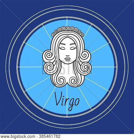 Virgo Horoscope And Zodiac Sign Decorative Design In Circle. Isolated Icon Of Maiden In Sketchy Mann
