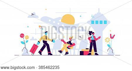 Airport Vector Illustration. Flat Aerodrome With Air Passenger And Luggage. Aircraft And Control Tow