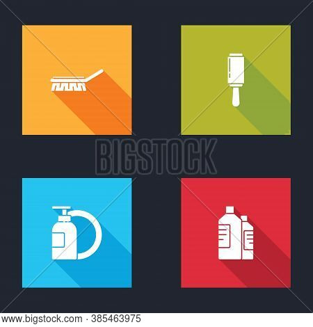 Set Brush For Cleaning, Adhesive Roller, Dishwashing Liquid Bottle And Plate And Bottles Agent Icon.