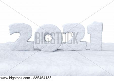 Happy New Year 2021 Sign Text Written With Numbers Made Of Snow On Snow Surface, Winter Snow Symbol