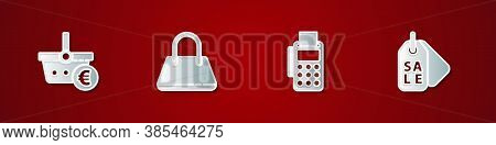 Set Shopping Basket And Euro, Handbag, Pos Terminal With Credit Card And Price Tag Sale Icon. Vector