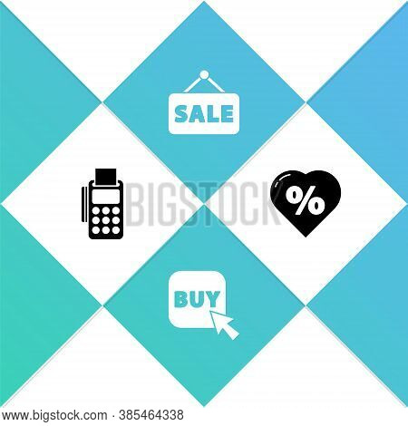 Set Pos Terminal With Credit Card, Buy Button, Hanging Sign Sale And Discount Percent Tag Heart Icon