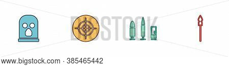 Set Balaclava, Target Sport, Bullet And Cartridge And Medieval Spear Icon. Vector