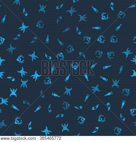 Set Hunting Horn, Bullet, Deer Antlers On Shield And Bear Skin On Seamless Pattern. Vector