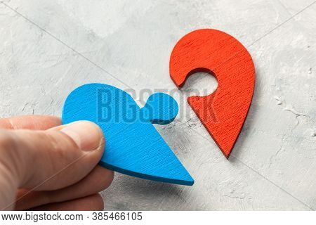 Heart Puzzle The Two Halves Of The Heart Of A Man And A Woman Joined Together. Two Parts Of Love. Co