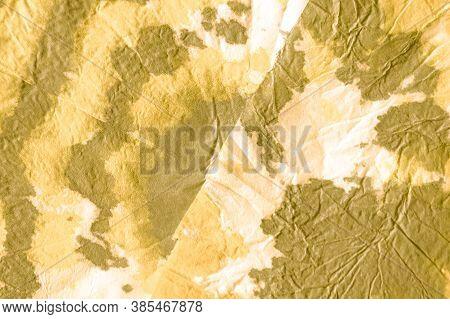 Metallic Ombre Texture. Metal Golden Illustration. Yellow Shine Luxury Foil Surface. Crumpled Handdr