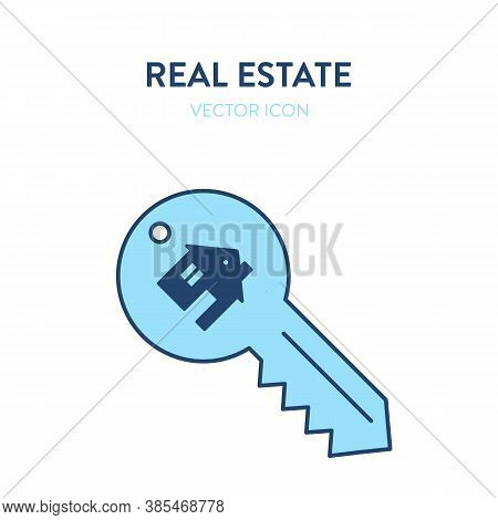 House Key Icon. Vector Illustration Of A Key With A Small House Image On It Representing Purchase Of