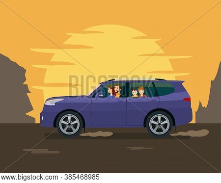 The Family Drives An Suv Against The Backdrop Of The Setting Sun And Mountains. Vector Illustration