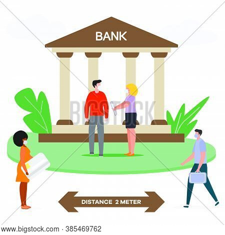 Vector Illustration Queue Of Bank Clients In Protective Masks Keeping Social Distance During Epidemi