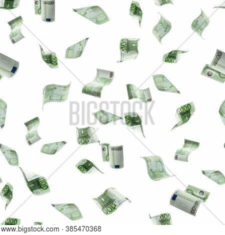 Money Falling Seamless Pattern. Banknote Falling Isolated Textures On White Background.