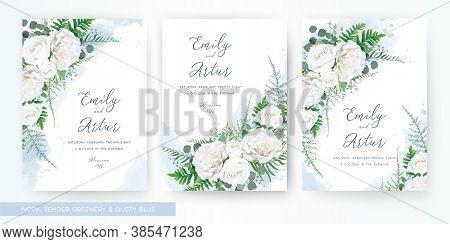 Wedding Invite, Invitation Watercolor Floral Card Template Set. Elegant Stylish Tender Ivory White G