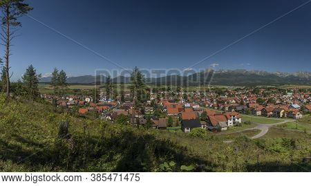 Vazec Village Panorama View With Vysoke Tatry Mountains In Sunny Summer Day
