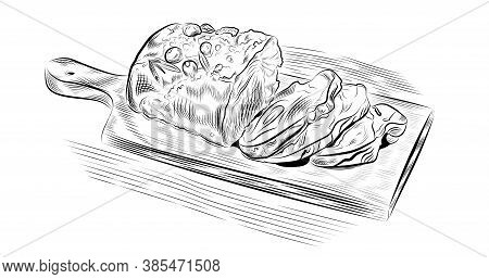 Meat Hand Drawn Vector Illustration. Ink Graphic Line Art. Outline Sketch For Markets, Shops. Clip A