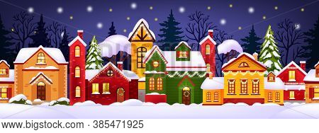Seamless Christmas Winter Illustration With Decorated Houses, Snow, Town, Trees Silhouette. Holiday
