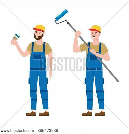 Set Construction Workers Painter With Brush And Rollerbrush In Workwear. Craftsman Character Vector