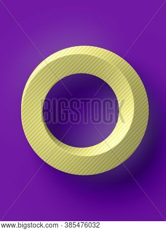 Abstract Yellow Mobius Ring On Pink Background. Modern Minimal Design. Optical Illusion. Creative 3d