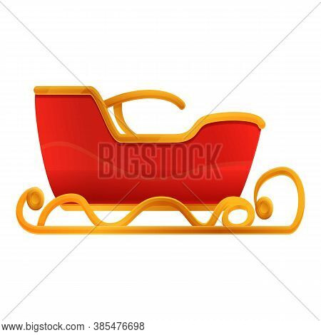 Xmas Sleigh Icon. Cartoon Of Xmas Sleigh Vector Icon For Web Design Isolated On White Background