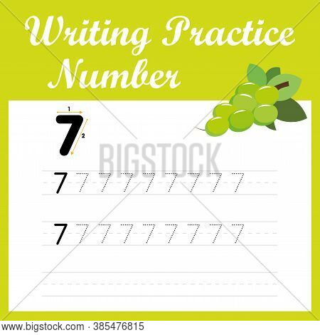 The Practice Of Writing Numbers 7. Tracking Worksheet Number Seven With Seed Grapes For Children Who