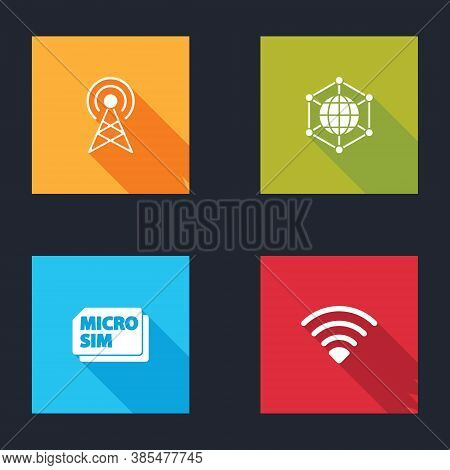 Set Antenna, Social Network, Micro Sim Card And Wi-fi Wireless Icon. Vector