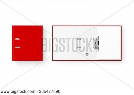 Vector 3d Closed And Opened Realistic Red Blank Office Binder With Metal Rings With A4 Paper Sheet C