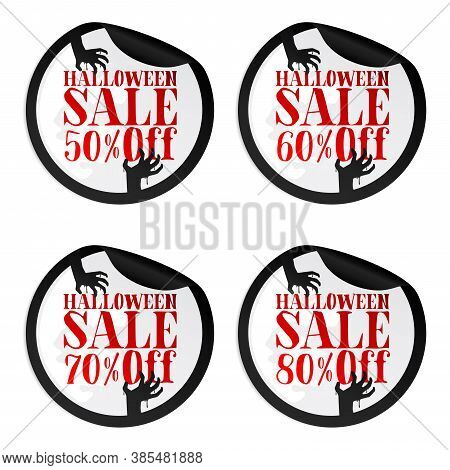 Black Halloween Sale Stickers Set With Zombie Hands 50, 60, 70, 80 Percent Off. Vector Illustration